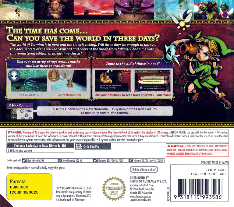 The Legend of Zelda - Majora's Mask 3D 3DS backHQ (AJRP)