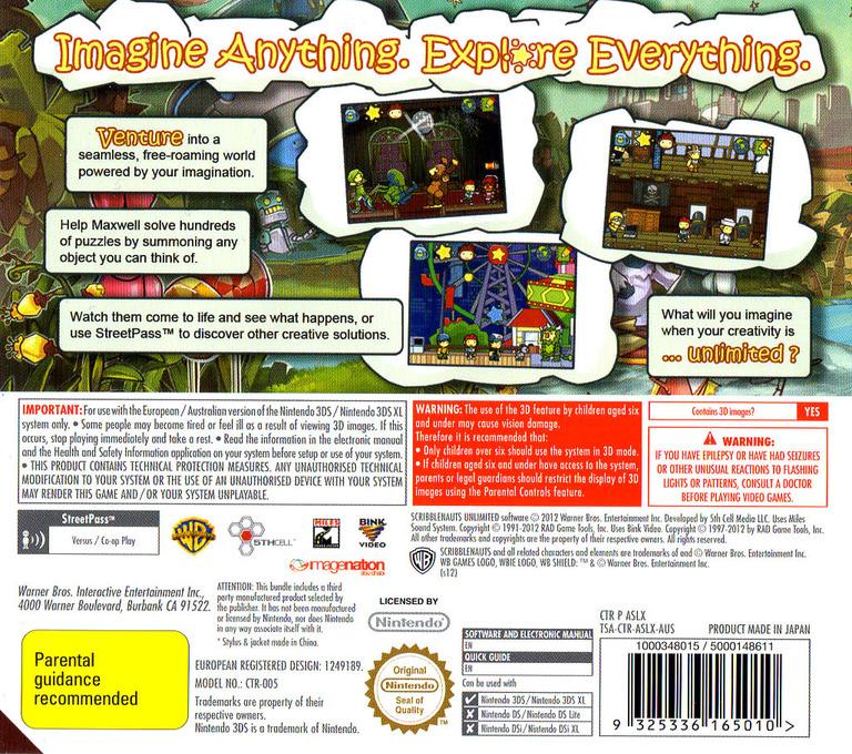 Scribblenauts Unlimited 3DS backHQ (ASLX)