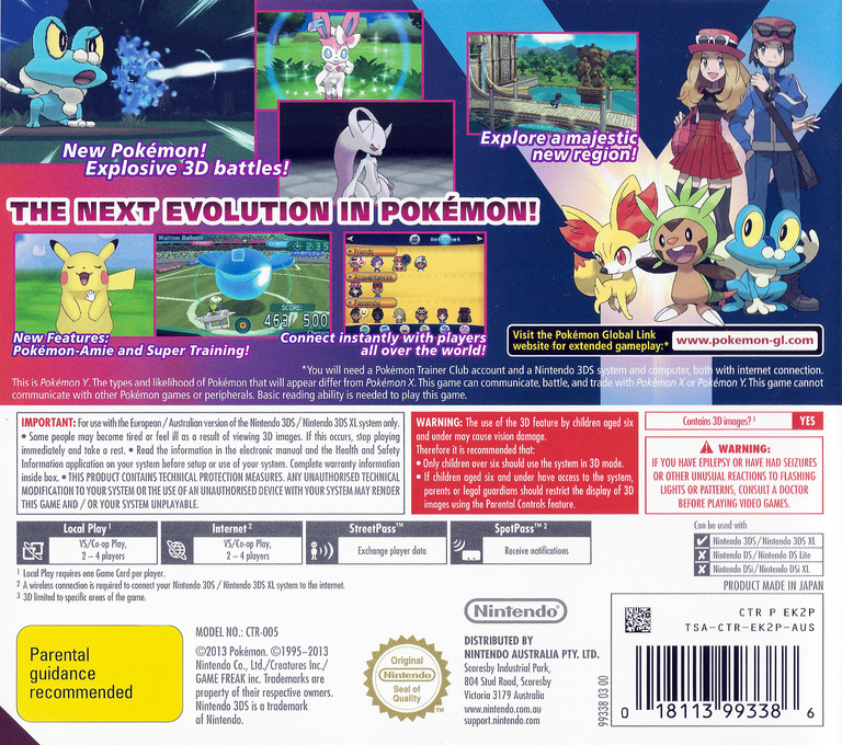 Pokémon Y 3DS backHQ (EK2A)