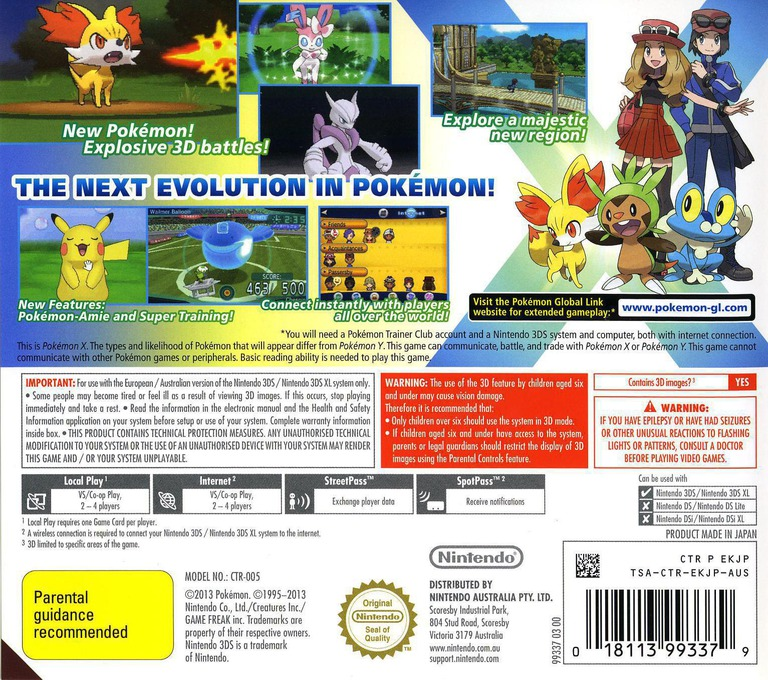 Pokémon X 3DS backHQ (EKJP)