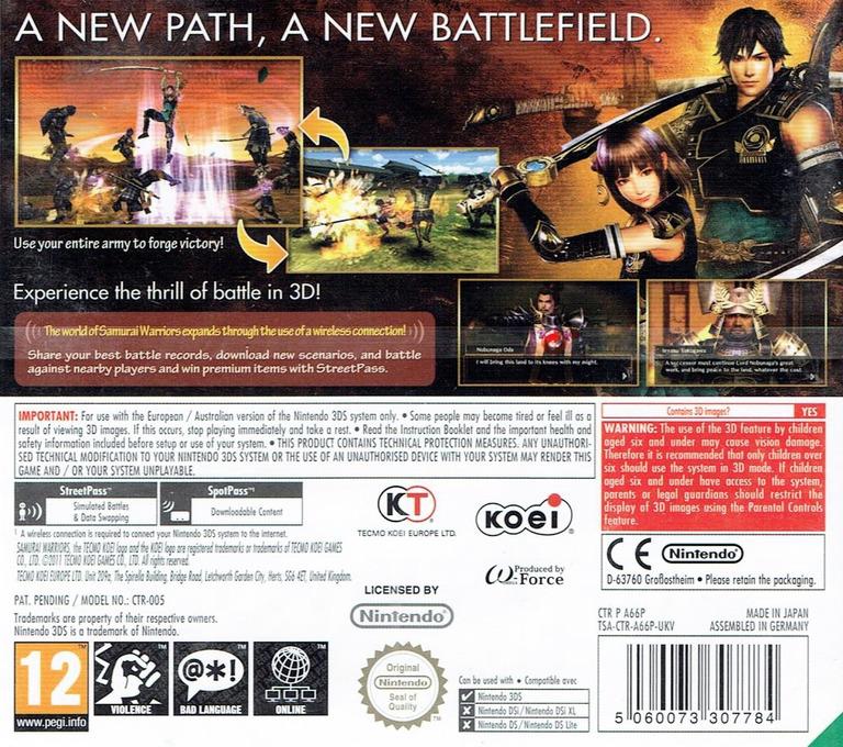 Samurai Warriors - Chronicles 3DS backHQ (A66P)
