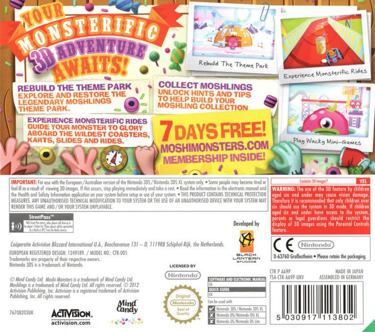Moshi Monsters - Moshlings Theme Park 3DS backHQ (AA9P)