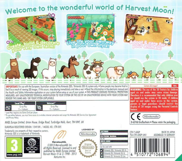 Harvest Moon 3D - A New Beginning 3DS backHQ (ABQP)