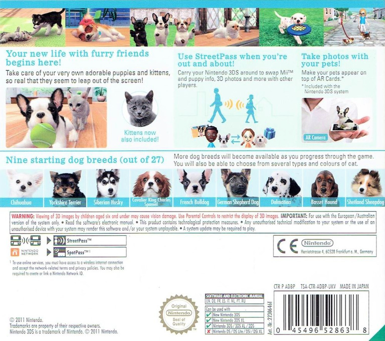 Nintendogs + Cats - French Bulldog & New Friends 3DS backHQ (ADBP)