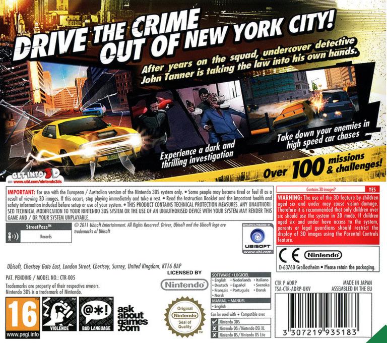 Driver Renegade 3D 3DS backHQ (ADRP)