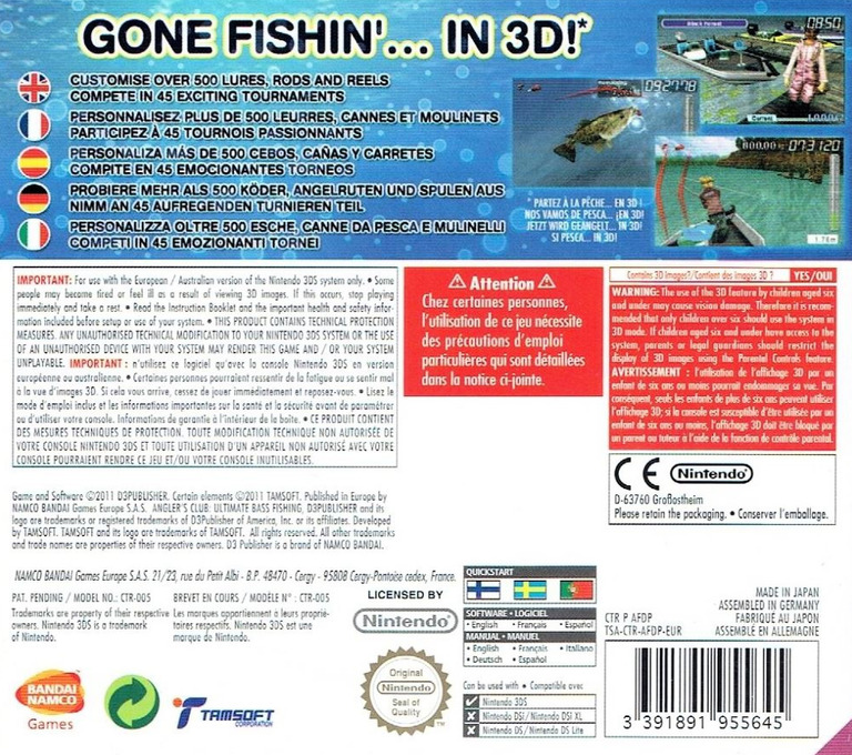 Angler's Club - Ultimate Bass Fishing 3D 3DS backHQ (AFDP)