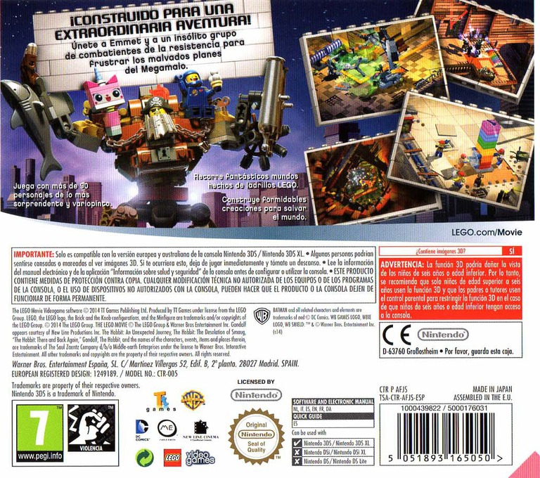 The LEGO Movie Videogame 3DS backHQ (AFJS)