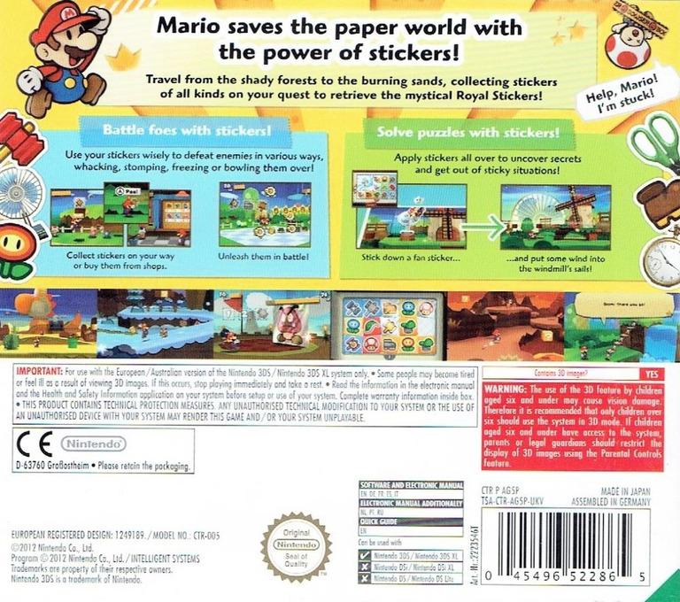 Paper Mario - Sticker Star 3DS backHQ (AG5P)