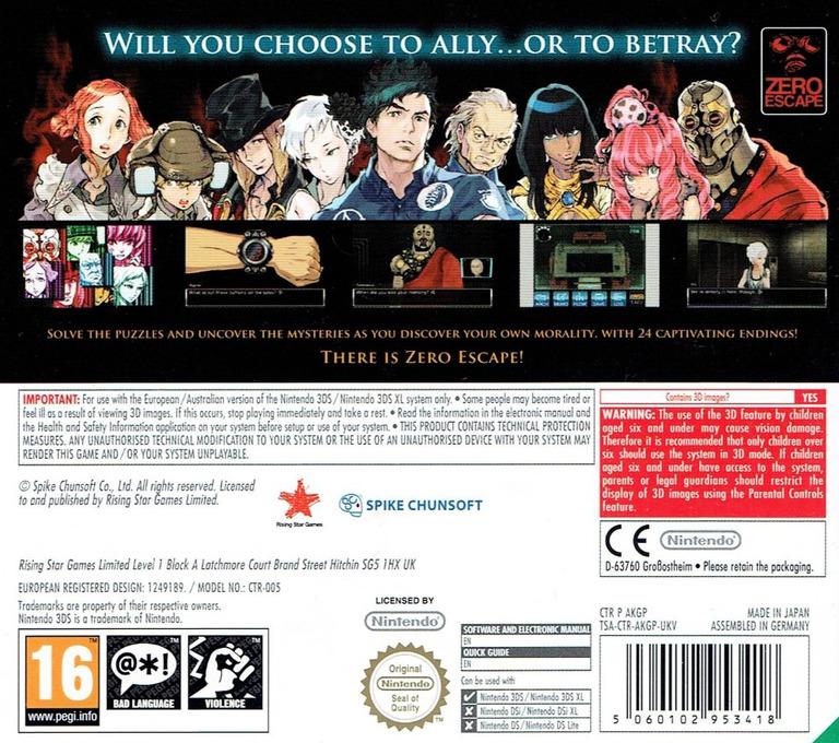 Zero Escape - Virtue's Last Reward 3DS backHQ (AKGP)