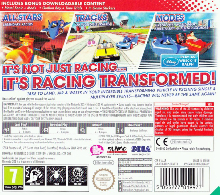 Sonic & All-Stars Racing Transformed 3DS backHQ (ALLP)