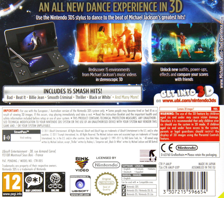 Michael Jackson - The Experience 3D 3DS backHQ (AMJP)