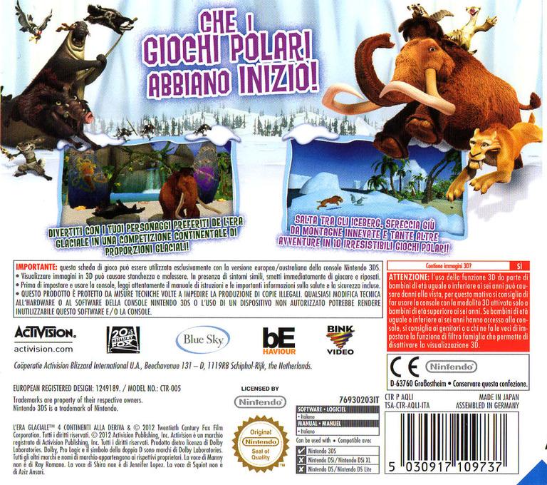 L'Era Glaciale 4 - Continenti alla Deriva - Giochi Polari 3DS backHQ (AQLI)