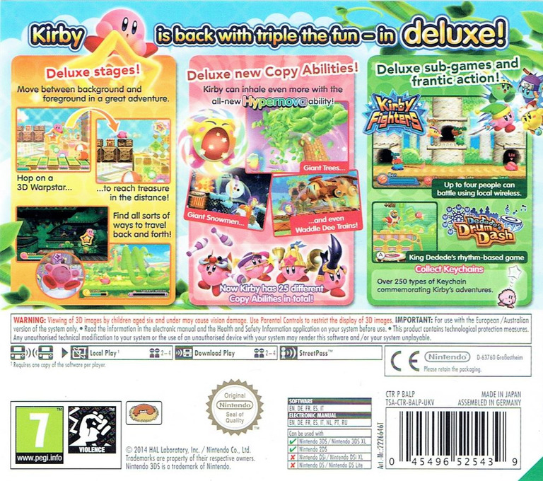 Kirby - Triple Deluxe 3DS backHQ (BALP)