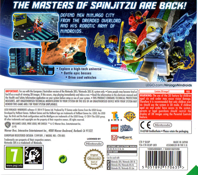 LEGO Ninjago - Nindroids 3DS backHQ (BLNP)