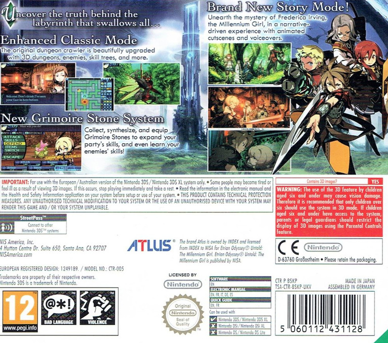 Etrian Odyssey Untold - The Millennium Girl 3DS backHQ (BSKP)