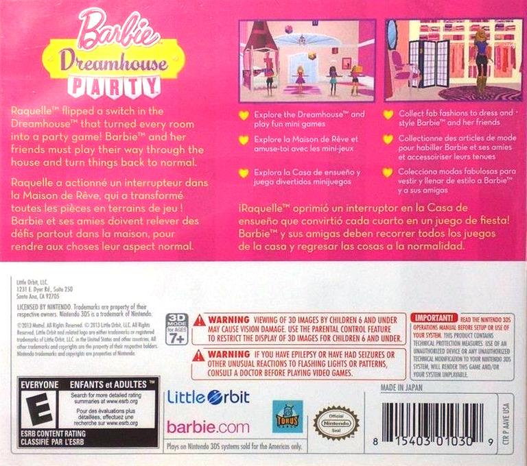 Barbie Dreamhouse Party 3DS backHQ (AAVE)