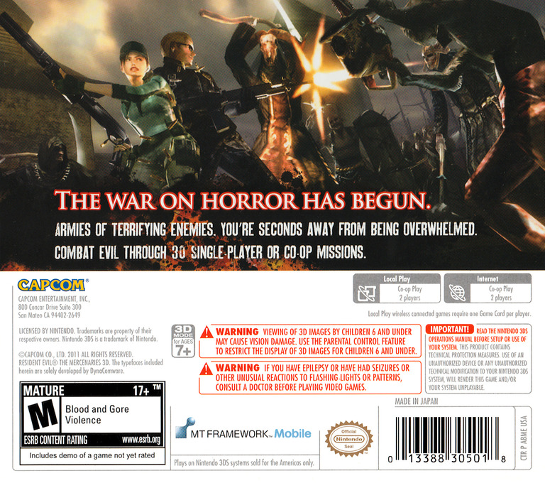 Resident Evil - The Mercenaries 3D 3DS backHQ (ABME)