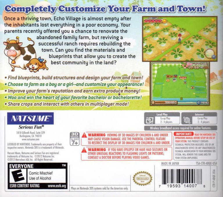 Harvest Moon 3D - A New Beginning 3DS backHQ (ABQE)