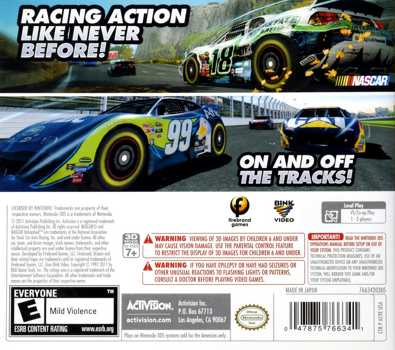 NASCAR Unleashed 3DS backHQ (AC9E)
