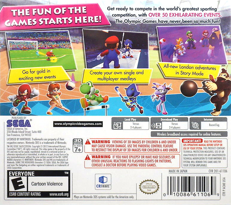 Mario & Sonic at the London 2012 Olympic Games 3DS backHQ (ACME)