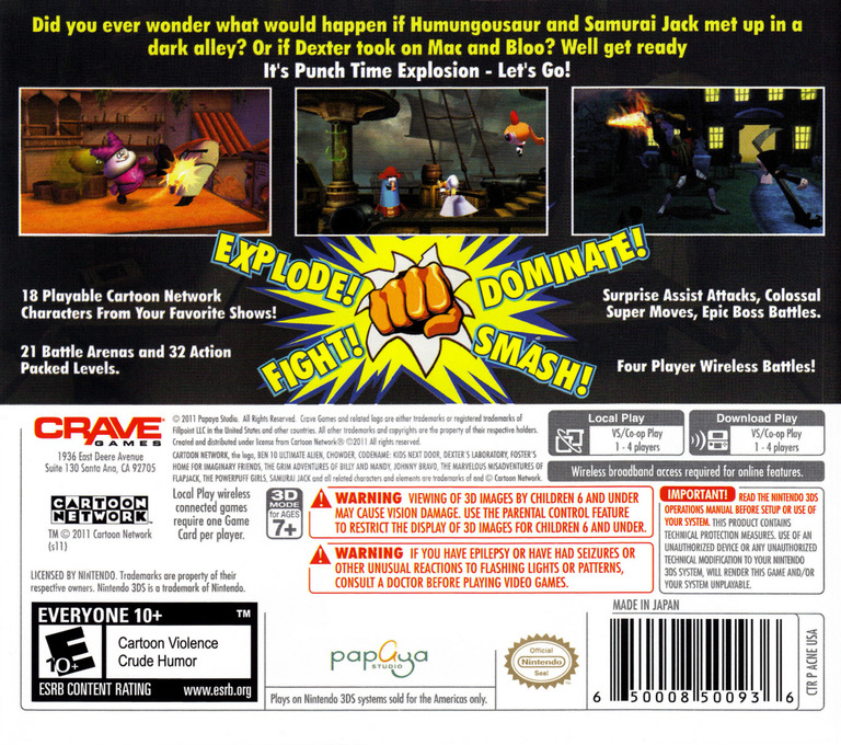 Cartoon Network - Punch Time Explosion 3DS backHQ (ACNE)
