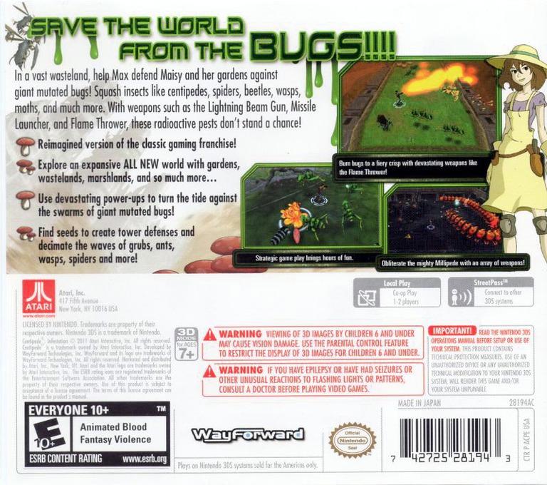 Centipede - Infestation 3DS backHQ (ACPE)