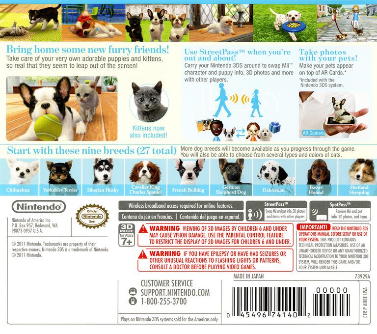 Nintendogs + Cats - French Bulldog & New Friends 3DS backHQ (ADBE)