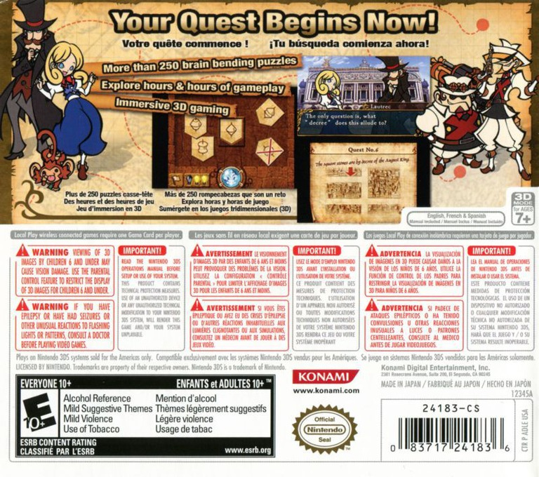 Doctor Lautrec and the Forgotten Knights 3DS backHQ (ADLE)
