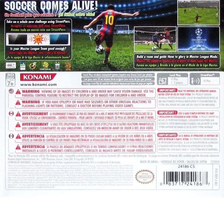 Pro Evolution Soccer 2011 3D 3DS backHQ (AEEE)