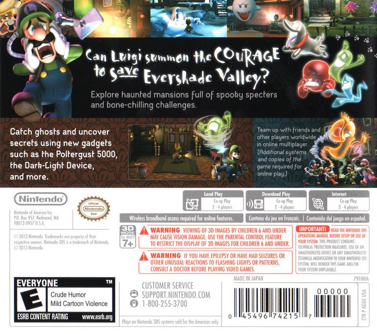 Luigi's Mansion - Dark Moon 3DS backHQ (AGGE)