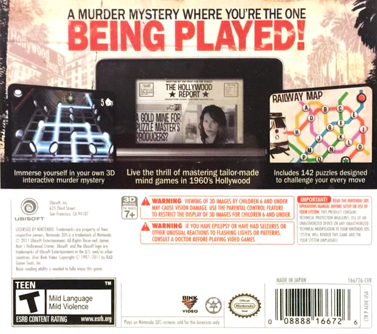 James Noir's Hollywood Crimes 3DS backHQ (AHCE)