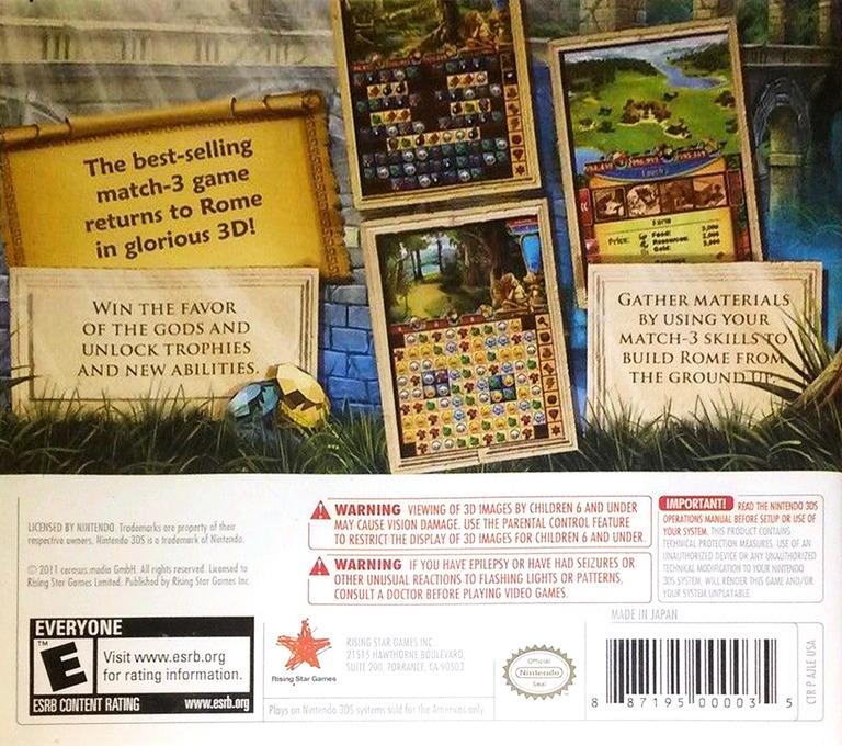 Jewel Master - Cradle of Rome 2 3DS backHQ (AJLE)