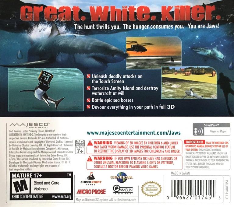 Jaws - Ultimate Predator 3DS backHQ (AJWE)