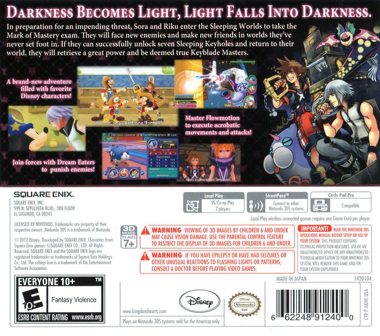 Kingdom Hearts 3D - Dream Drop Distance 3DS backHQ (AKHE)