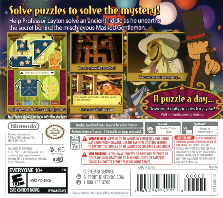 Professor Layton and the Miracle Mask 3DS backHQ (AKKE)