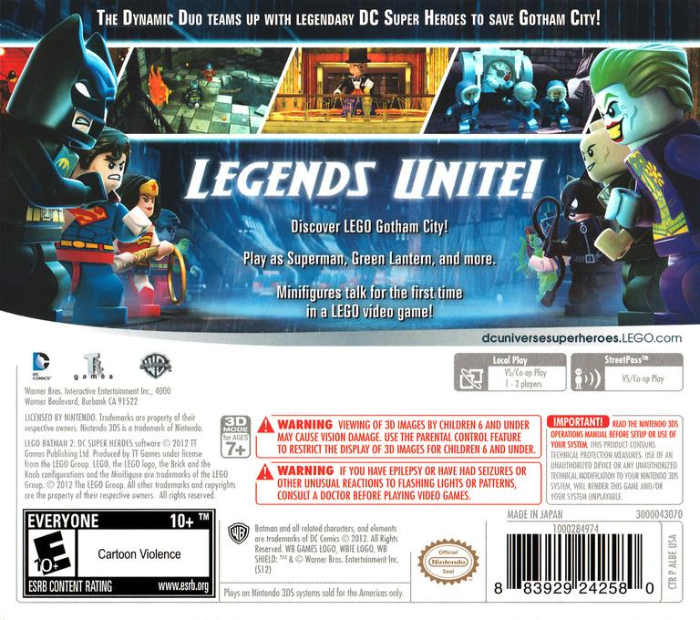 LEGO Batman 2 - DC Super Heroes 3DS backHQ (ALBE)
