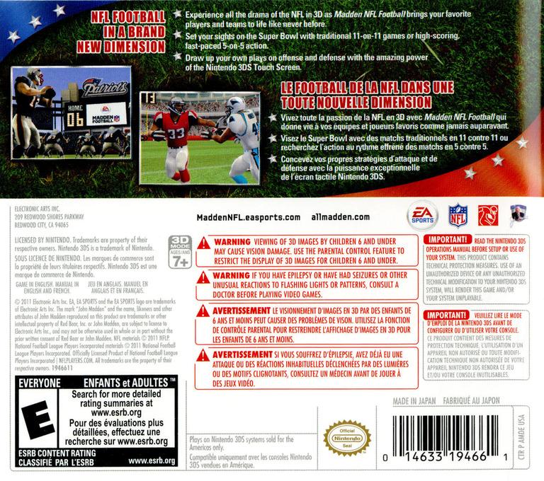 Madden NFL Football 3DS backHQ (AMDE)