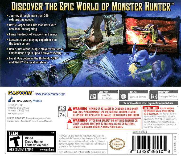 Monster Hunter 3 Ultimate 3DS backHQ (AMHE)