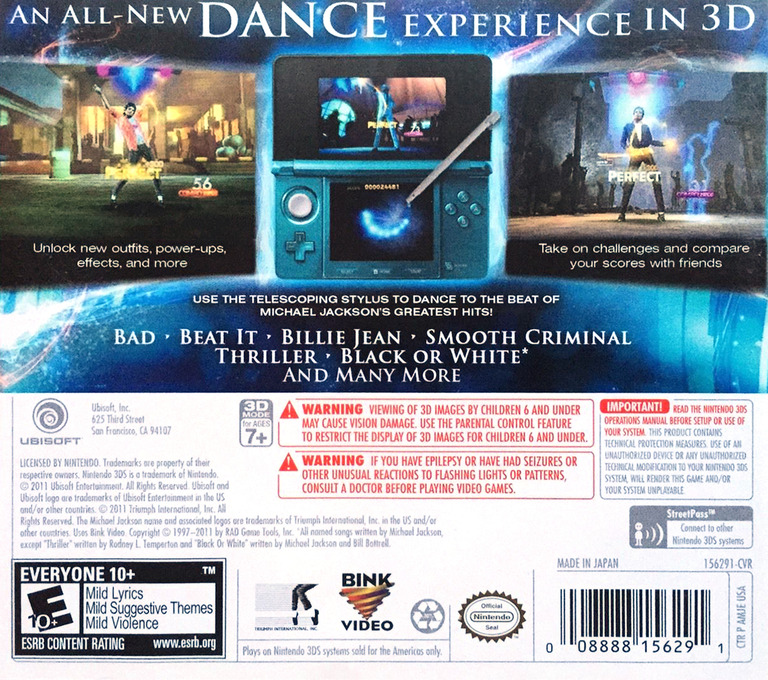 Michael Jackson - The Experience 3D 3DS backHQ (AMJE)