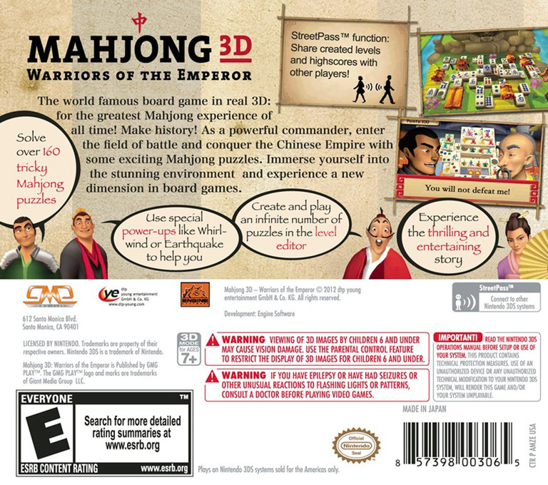 Mahjong 3D - Warriors of the Emperor 3DS backHQ (AMZE)
