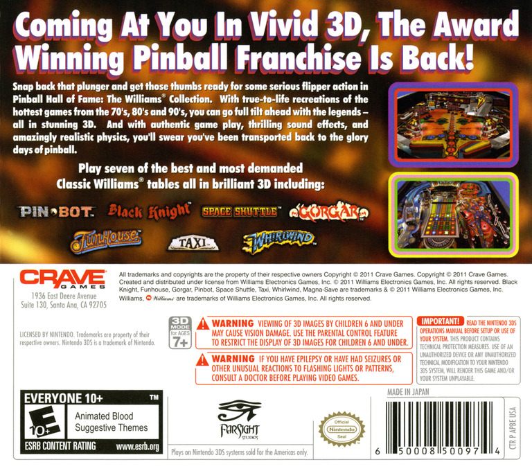 Pinball Hall of Fame - The Williams' Collection 3DS backHQ (APBE)