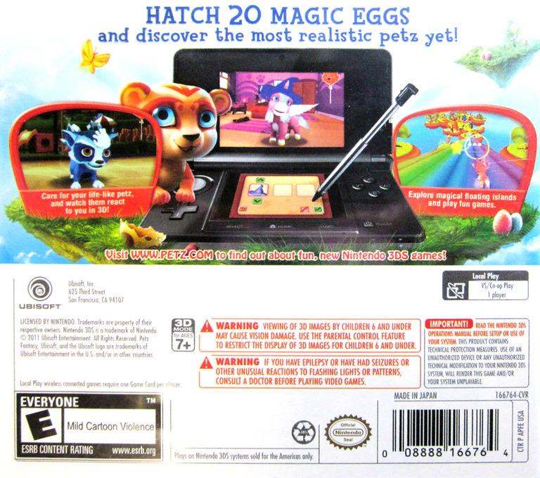 Petz Fantasy 3D 3DS backHQ (APFE)