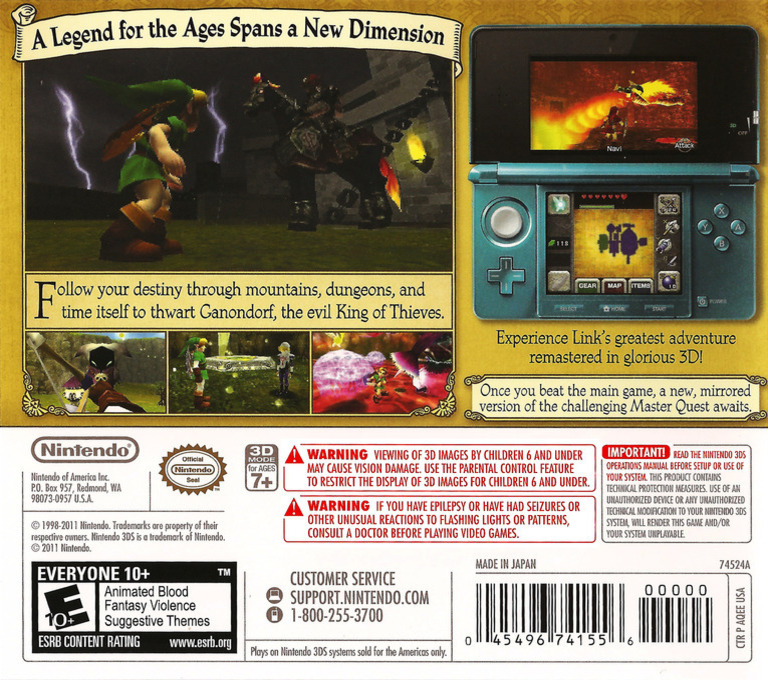 The Legend of Zelda - Ocarina of Time 3D 3DS backHQ (AQEE)