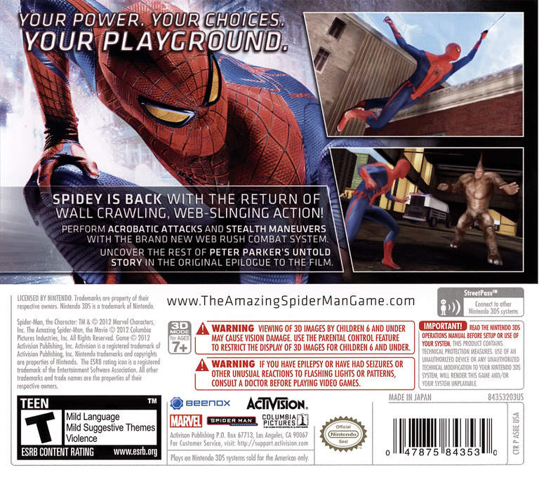 The Amazing Spider-Man 3DS backHQ (AS8E)