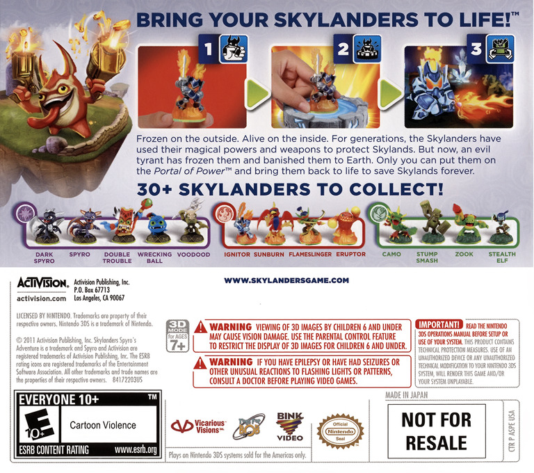Skylanders - Spyro's Adventure 3DS backHQ (ASPE)