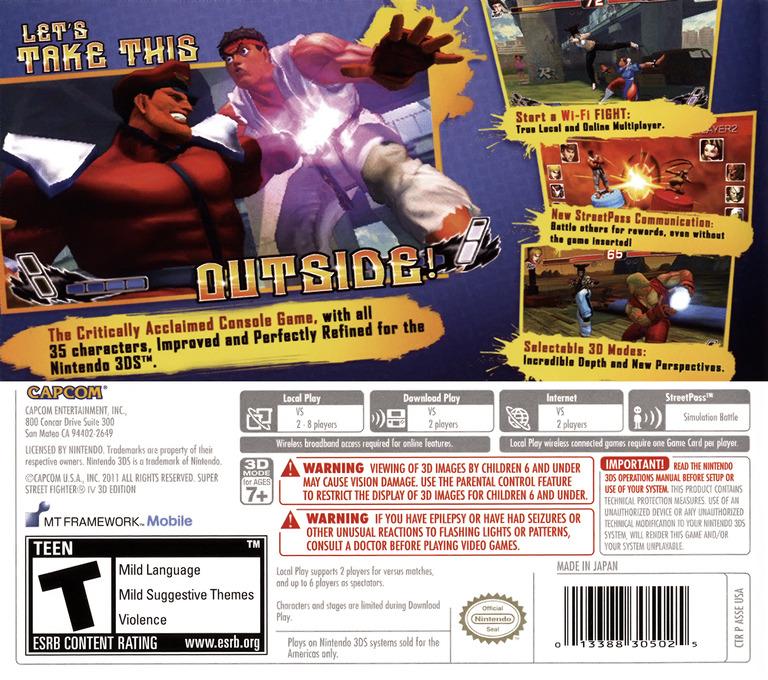 Super Street Fighter IV - 3D Edition Array backHQ (ASSE)