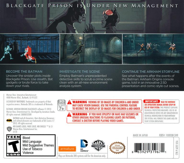 Batman - Arkham Origins Blackgate 3DS backHQ (AZEE)