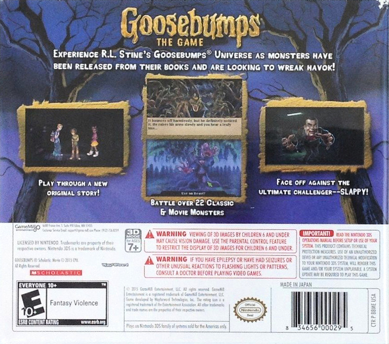Goosebumps - The Game 3DS backHQ (BBME)