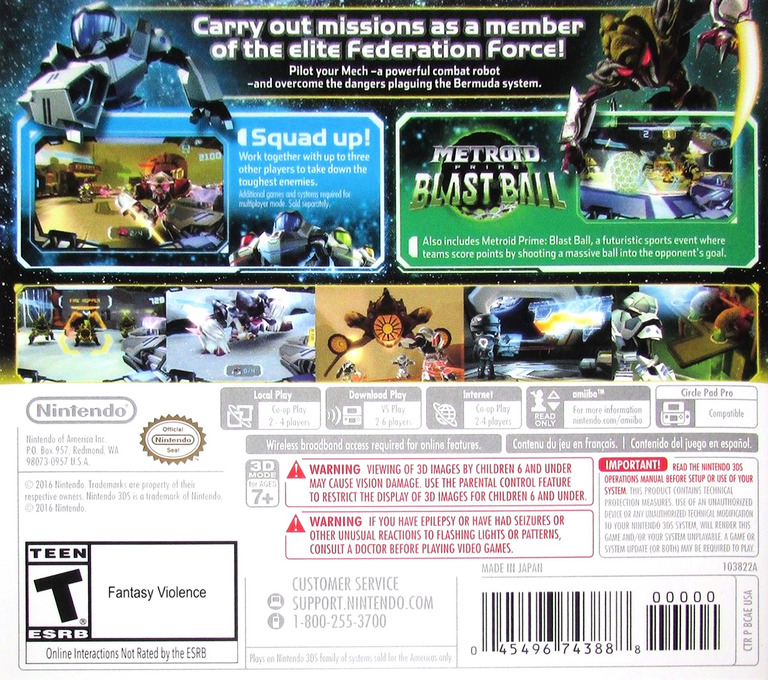 Metroid Prime: Federation Force 3DS backHQ (BCAE)