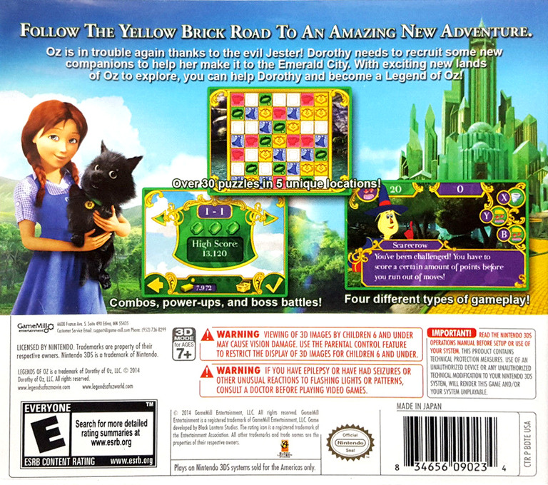 Legends of Oz - Dorothy's Return 3DS backHQ (BDTE)